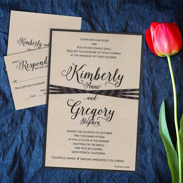 Wedding invitation with ribbon accent