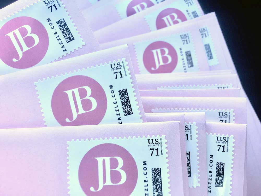 "Sample custom postage with initials ""JB"""