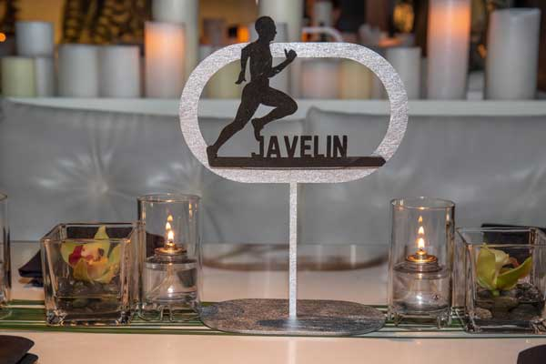"""Laser Cut Designs; table number with runner and """"Javelin"""""""