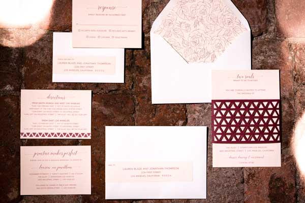 Laser Cut Designs; wedding invitation suite