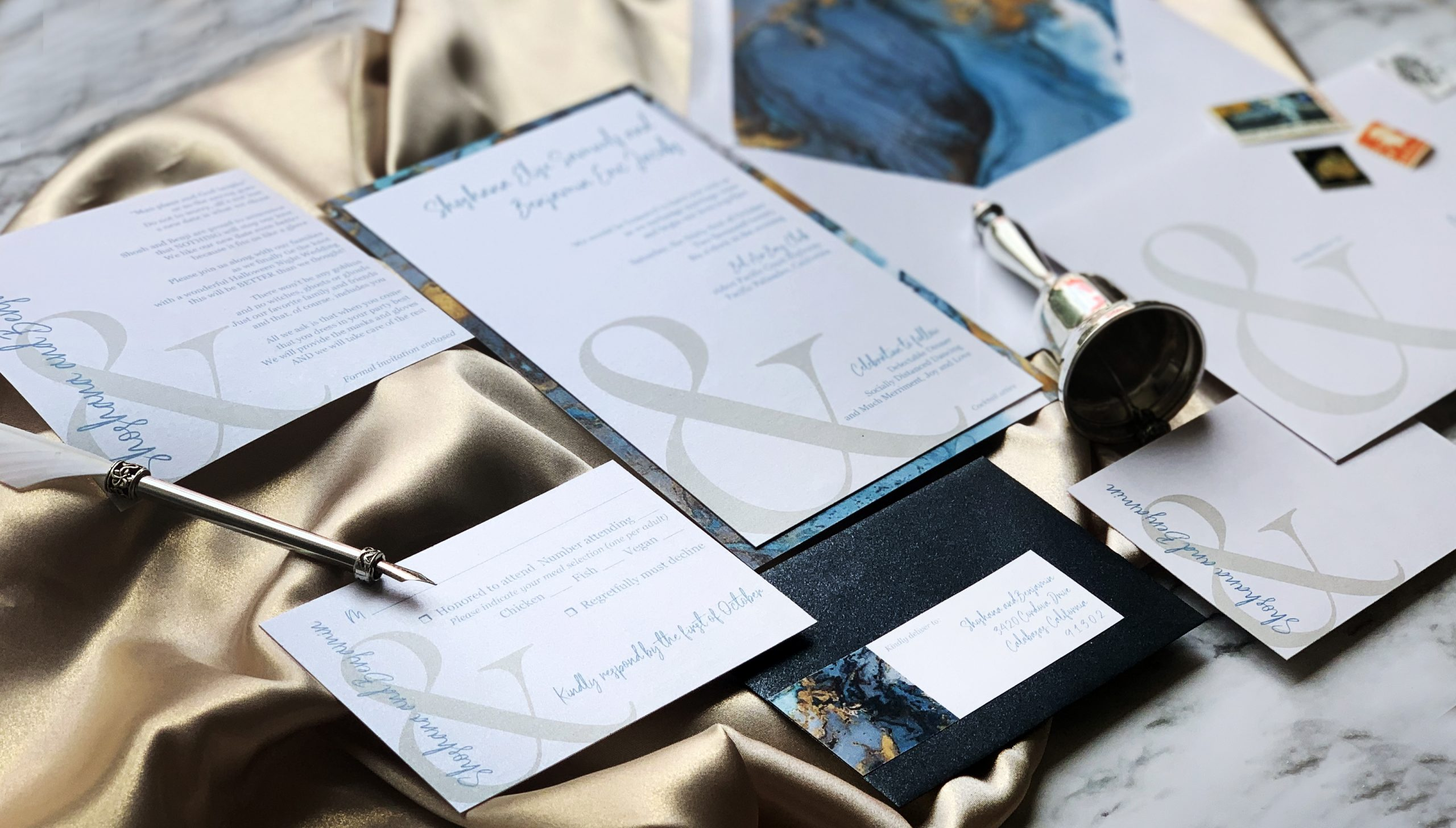 Invitation with large ampersand design