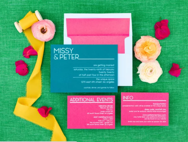 Teal Hot Pink Wedding Invitation - Missy and Peter